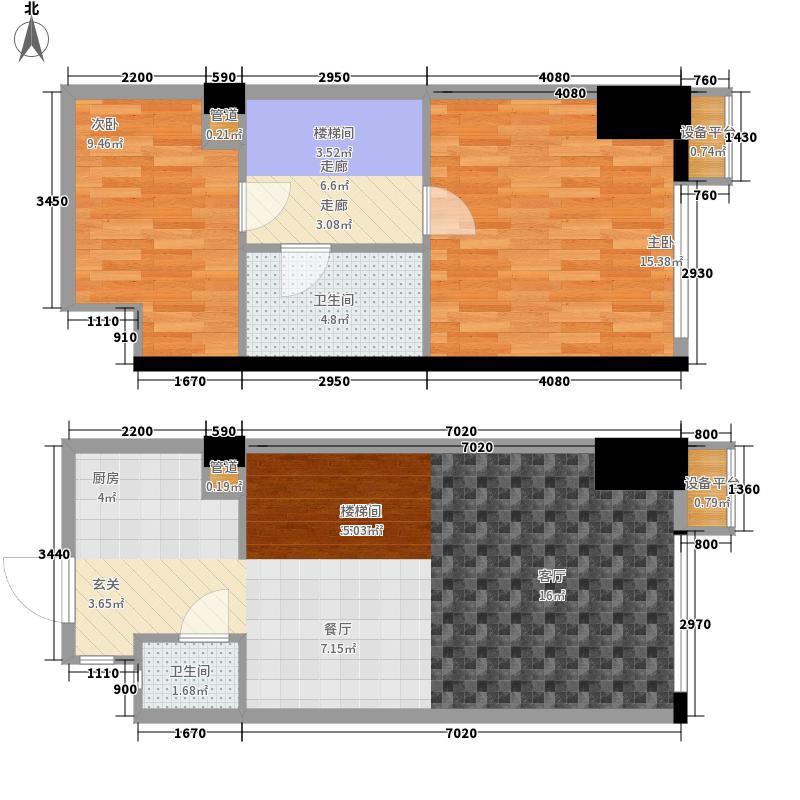 万科金域华府42.00㎡装修公寓户型2室1厅