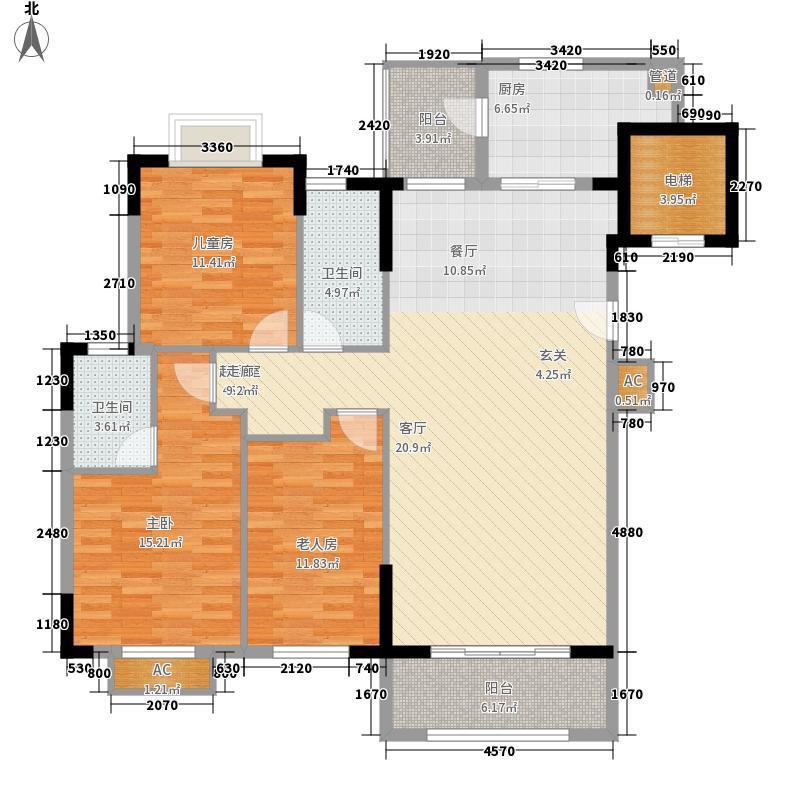 南沙心意华庭127.00㎡3栋01户型3室2厅