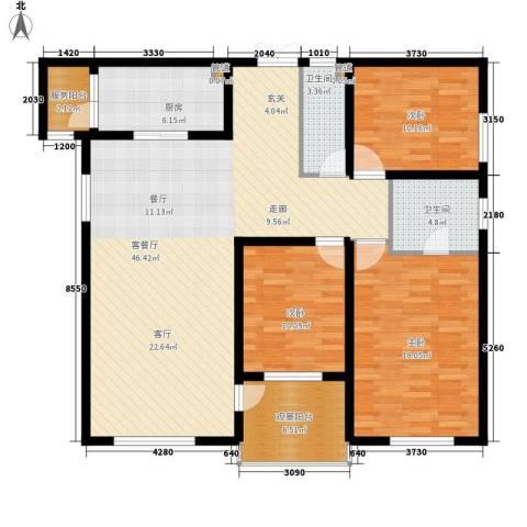 中粮祥云国际生活区3室1厅2卫1厨156.00㎡户型图