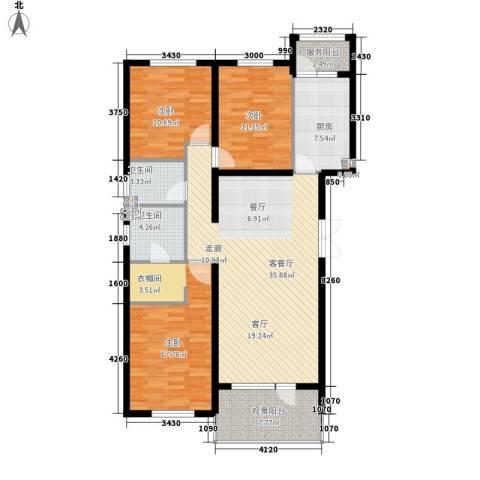 中粮祥云国际生活区3室1厅2卫1厨143.00㎡户型图