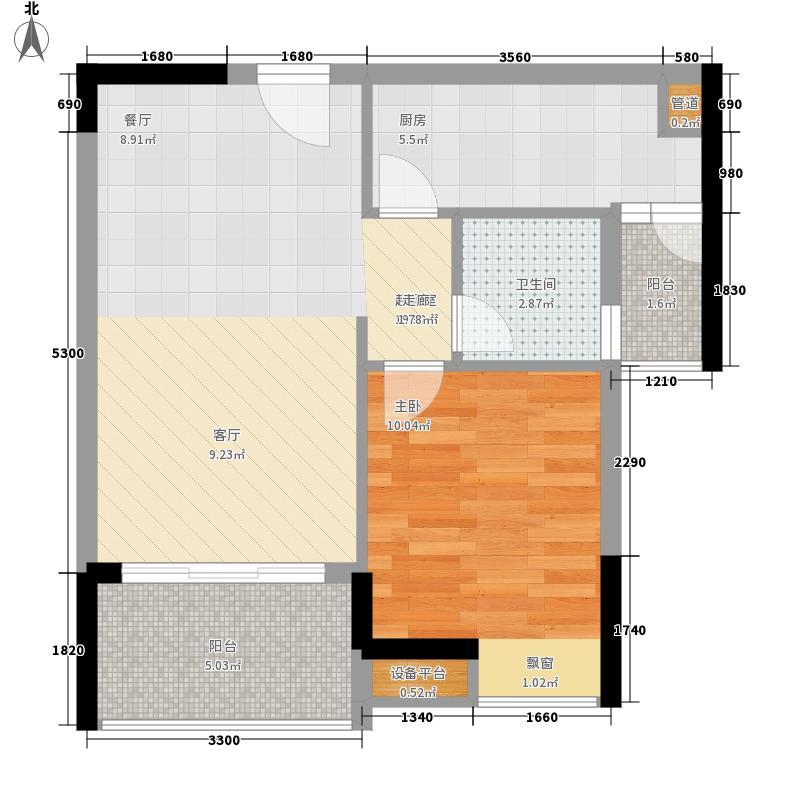 富力城46.69㎡四期E6栋2-15层6号房户型