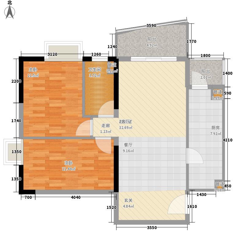 银山尚橙89.81㎡14-28层05单元2室户型