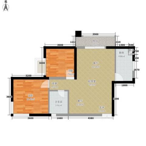华章名府2室0厅1卫1厨84.00㎡户型图