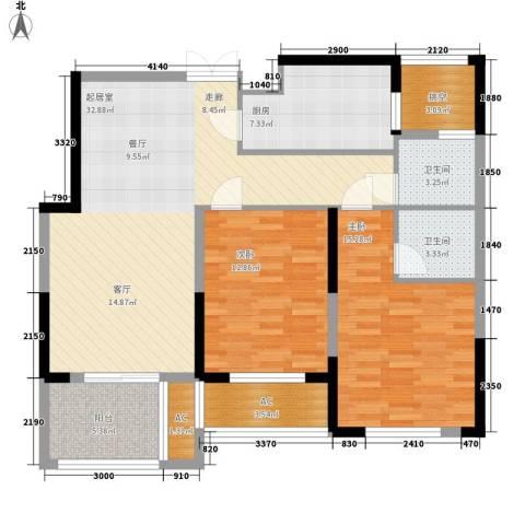 著明和谐家园2室0厅2卫1厨101.00㎡户型图