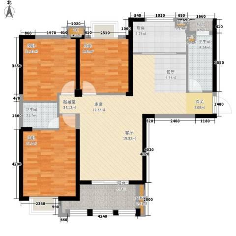 龙旺名城3室0厅2卫1厨130.00㎡户型图