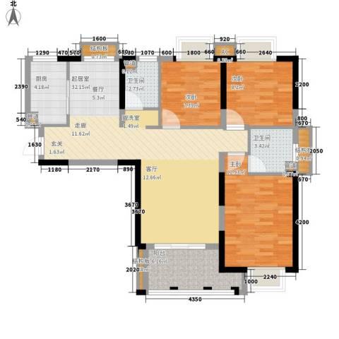 龙旺名城3室0厅2卫1厨92.84㎡户型图