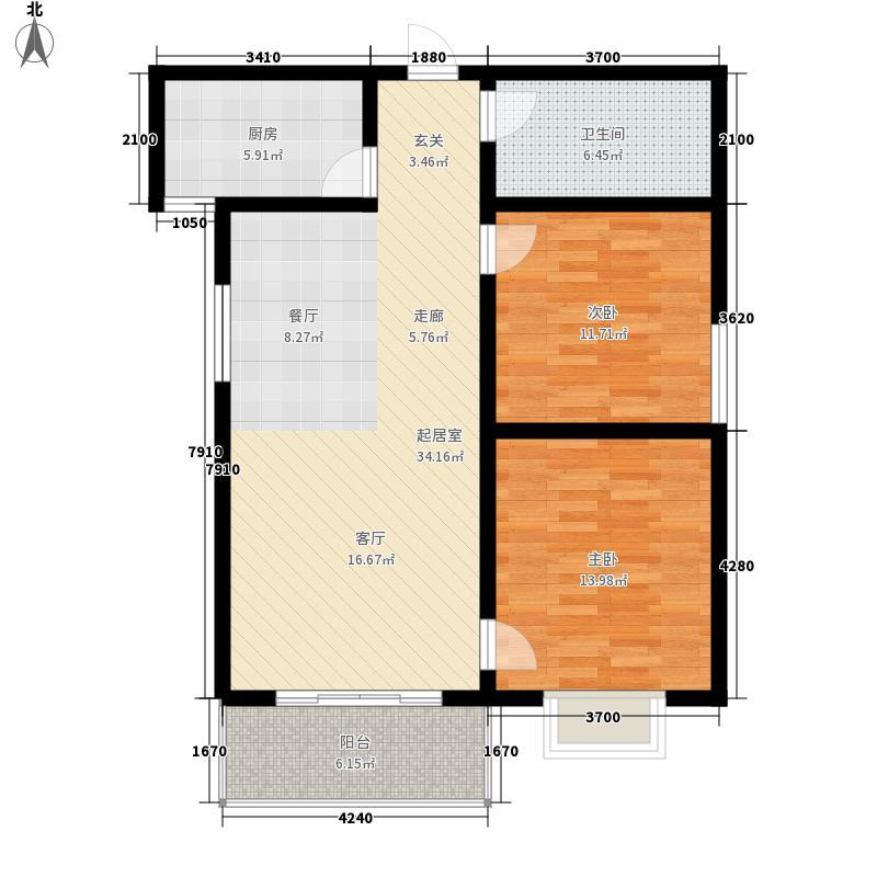 港丽城88.82㎡户型2室2厅