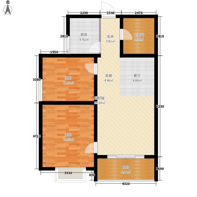 港丽城87.42㎡I户型2室2厅
