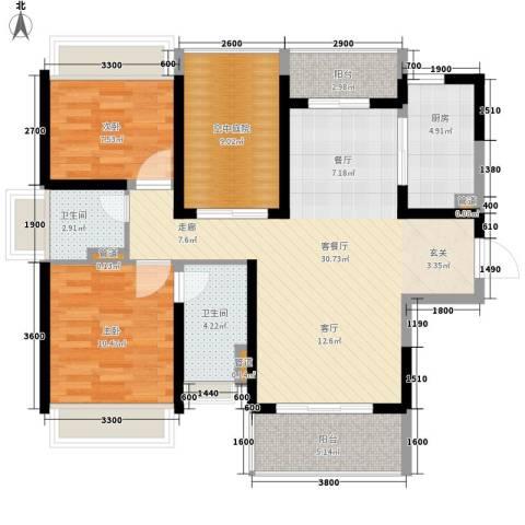 保利百合花园2室1厅2卫1厨96.00㎡户型图
