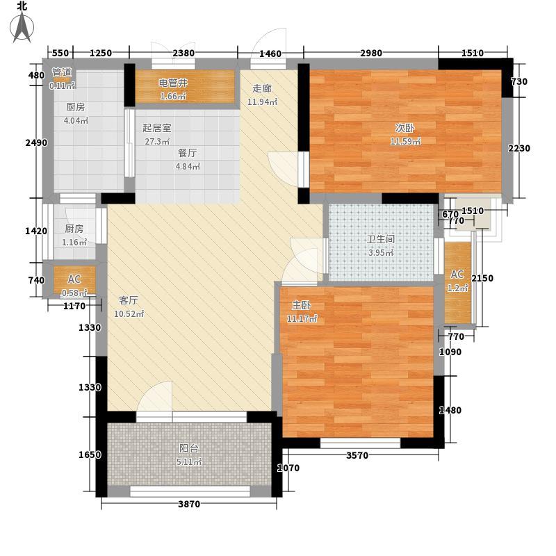 龙阳1号88.00㎡8-3水润百合户型2室2厅