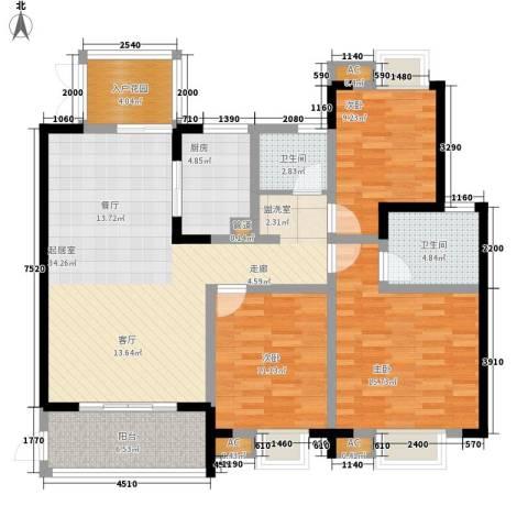 世纪城龙佑苑3室0厅2卫1厨132.00㎡户型图