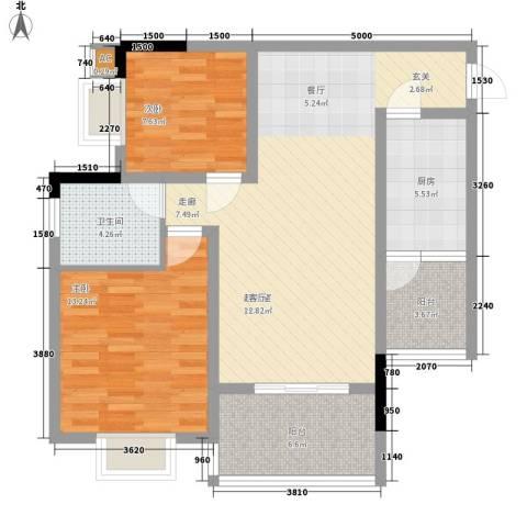 华懋上域2室0厅1卫1厨101.00㎡户型图