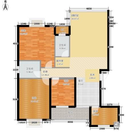 鑫天山水洲城3室0厅2卫1厨142.00㎡户型图