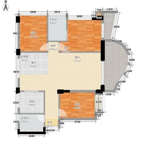 春江名都3室0厅2卫1厨110.00㎡户型图