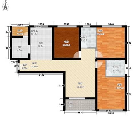 龙天名俊3室0厅2卫1厨120.00㎡户型图
