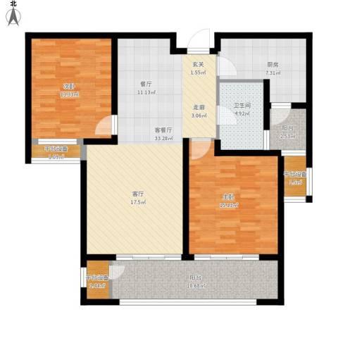 九龙仓擎天半岛2室1厅1卫1厨131.00㎡户型图