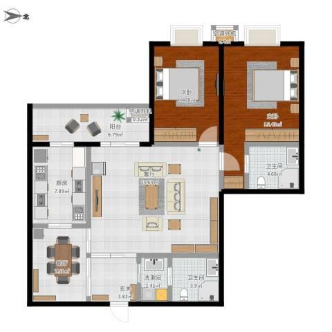 天通・公园里2室2厅2卫1厨128.00㎡户型图