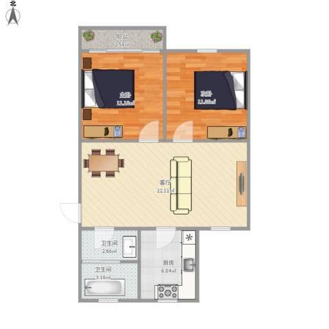 太湖花园二期2室1厅2卫1厨79.00㎡户型图