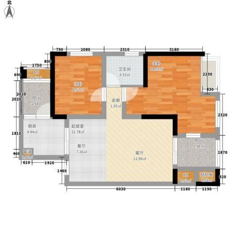朵力尚美国际2室0厅1卫1厨72.00㎡户型图