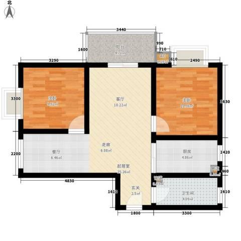 榕青无界2室0厅1卫1厨92.00㎡户型图