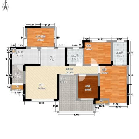 朵力尚美国际3室0厅2卫1厨99.00㎡户型图