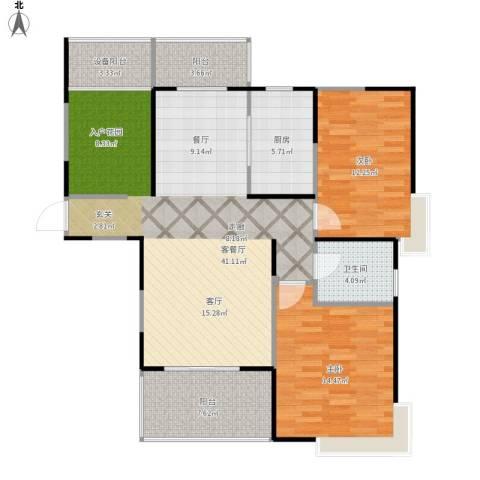上海三湘海尚2室1厅1卫1厨124.00㎡户型图
