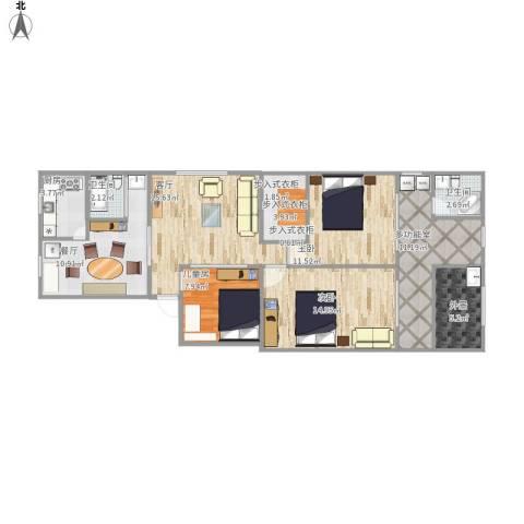 黄山二村3室2厅2卫1厨123.00㎡户型图