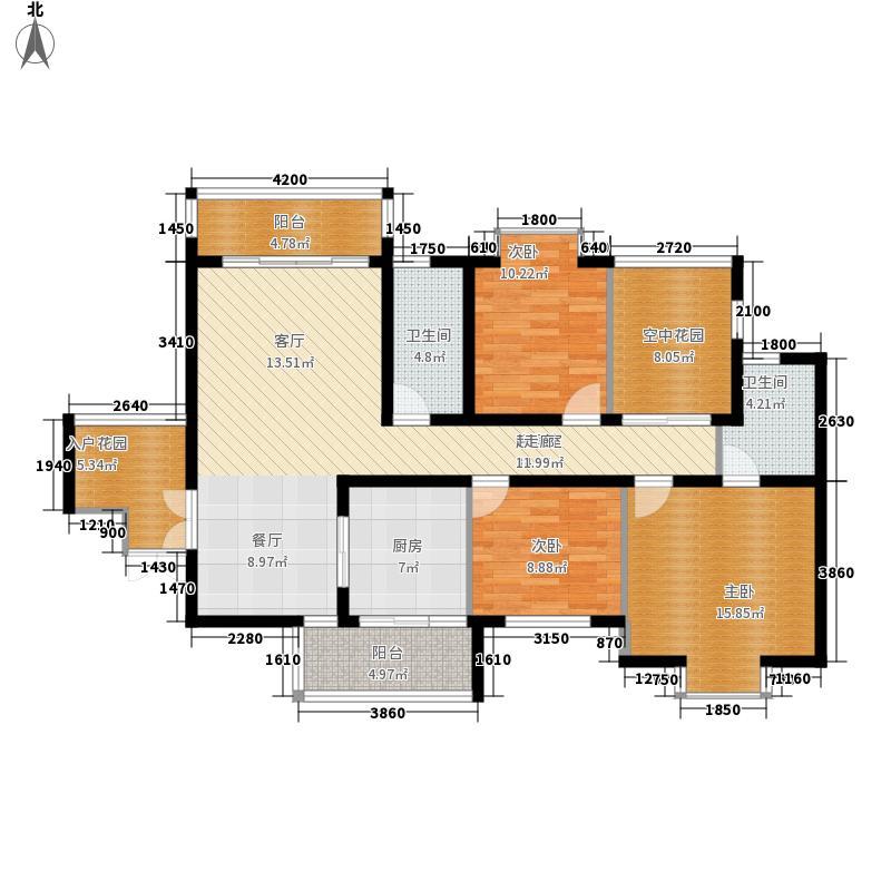 昆仑澳韵128.39㎡三室二厅二卫+入户花园+空中庭园户型
