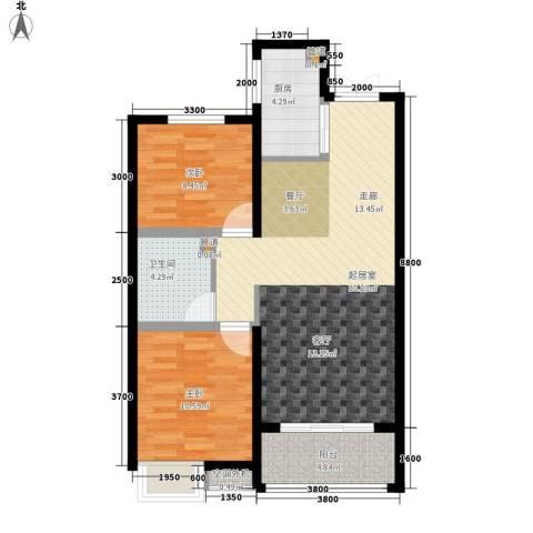 金泰华城2室0厅1卫1厨92.00㎡户型图