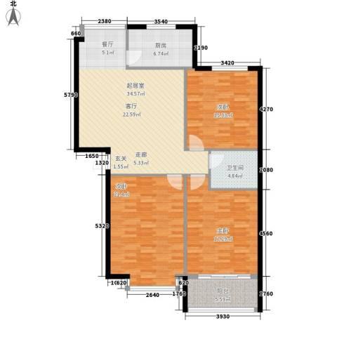 彩石文明花园小区3室0厅1卫1厨116.00㎡户型图