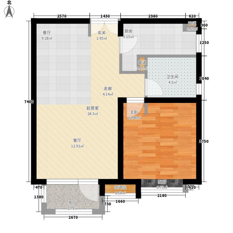 新汇华庭80.00㎡高层标准层A户型