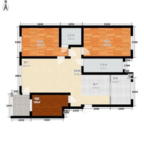仓基小区3室1厅2卫1厨132.00㎡户型图