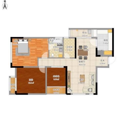 北城国际中心2室1厅2卫1厨124.00㎡户型图