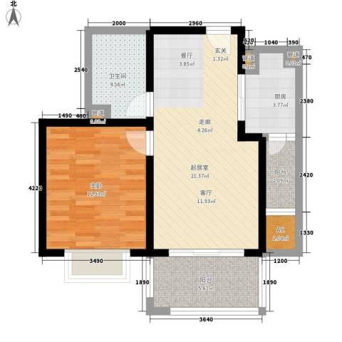 大华阳光曼哈顿1室0厅1卫1厨72.00㎡户型图