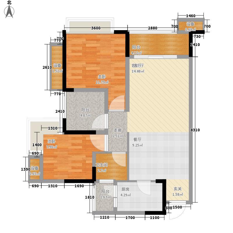 重庆巴南万达广场85.00㎡万达广场一期T1、T7号楼D3/4号房户型2室2厅