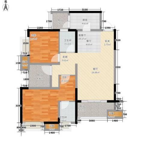 重庆巴南万达广场2室1厅2卫1厨100.00㎡户型图