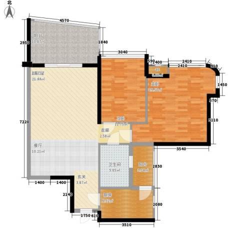 广州雅居乐花园一尺山居2室0厅1卫1厨97.00㎡户型图