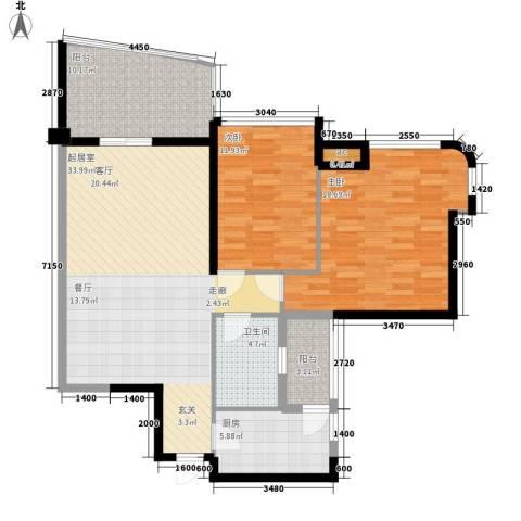 广州雅居乐花园一尺山居2室0厅1卫1厨100.00㎡户型图