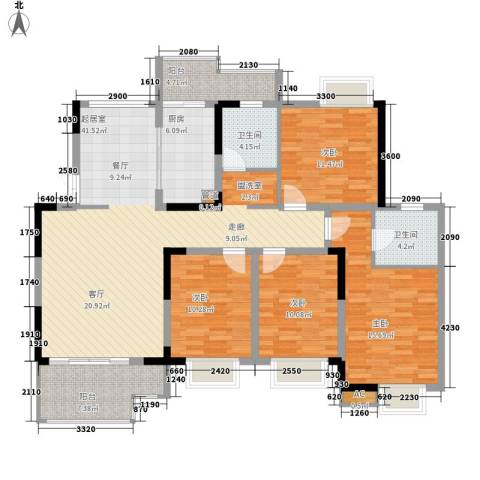 世纪城龙佑苑4室0厅2卫1厨148.00㎡户型图