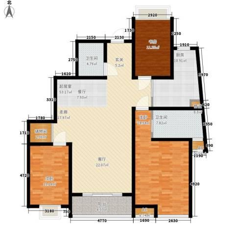 高新花园二期3室0厅2卫1厨155.00㎡户型图