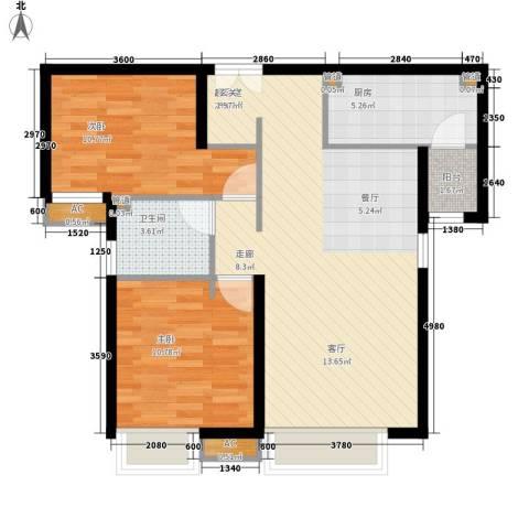 富力城2室0厅1卫1厨85.00㎡户型图