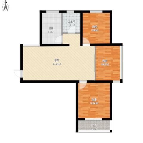 旭东花园3室1厅1卫1厨113.00㎡户型图