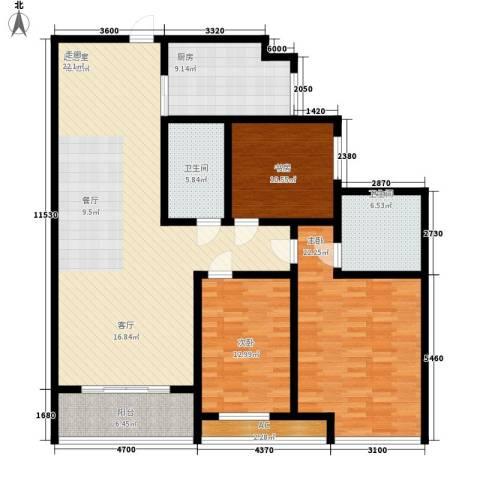 高新花园二期3室0厅2卫1厨143.00㎡户型图