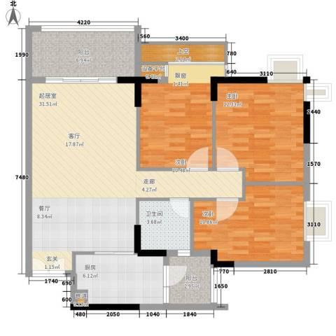 云山诗意3室0厅1卫1厨99.00㎡户型图