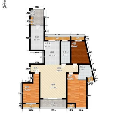 高新花园二期3室0厅2卫1厨152.00㎡户型图