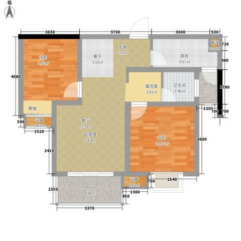 东亚马赛公馆2室0厅1卫1厨88.00㎡户型图