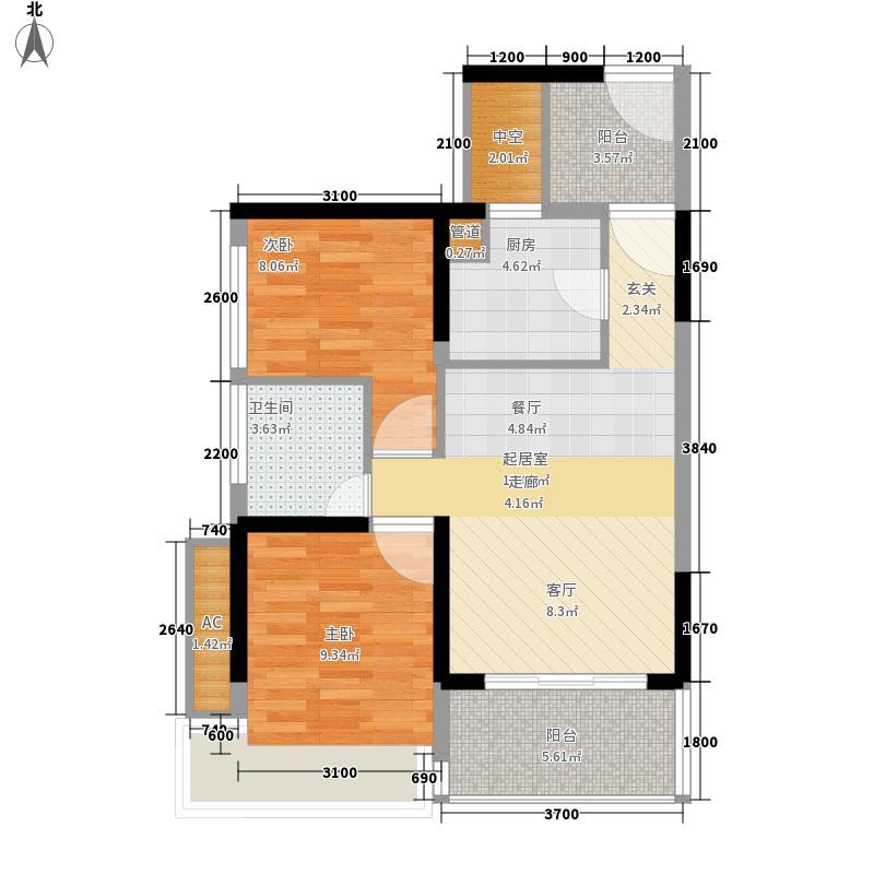 潜龙曼海宁67.48㎡二期12阳台户型2室2厅