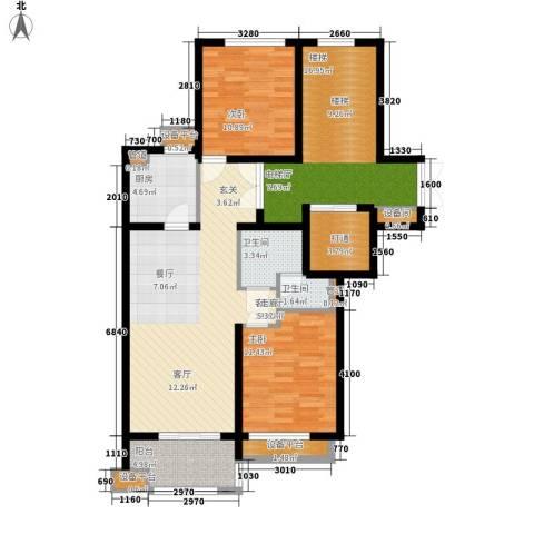 绿城百合花园2室1厅2卫1厨92.00㎡户型图