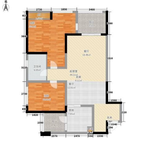 朵力尚美国际2室0厅1卫1厨107.61㎡户型图