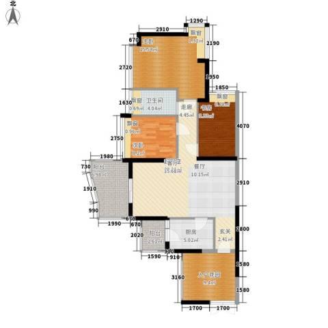 广州雅居乐花园一尺山居3室0厅1卫1厨100.00㎡户型图
